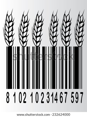 wheat bar code  illustration - stock vector