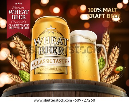 Wheat beer ads, refreshing beer in aluminum can and beer glass on top of oak barrels with wheat and hops elements, 3d illustration with bustling bokeh background