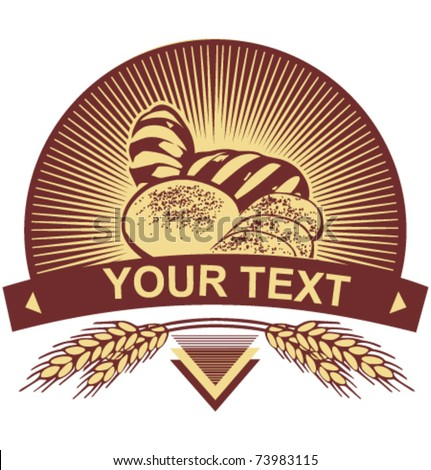 Wheat bread  template. Just add your text! - stock vector