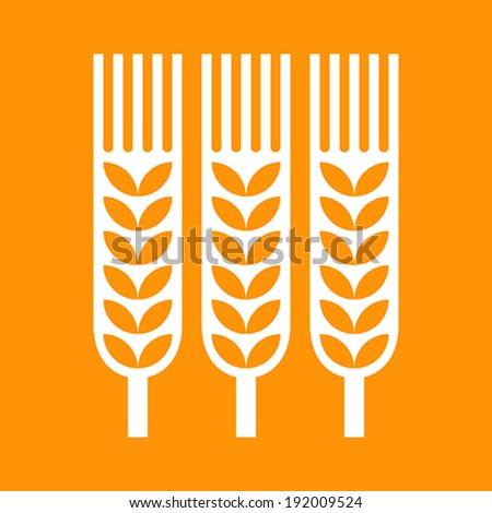 Wheat ear icon on orange background - stock vector