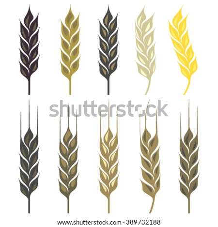 Wheat ear icon set in different colors - stock vector