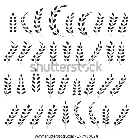 Wheat ear icon set, leaves icons, graphic design elements, black isolated on white background, vector illustration. - stock vector