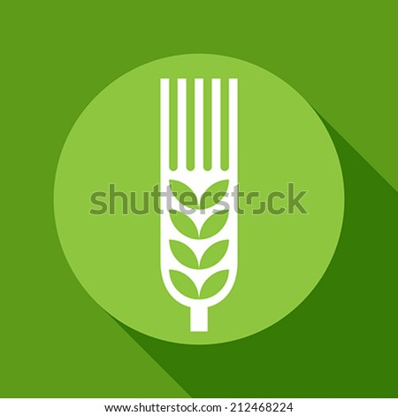 Wheat ear sign on green background - stock vector