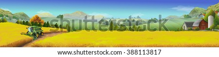 Wheat field, rural landscape, vector background - stock vector