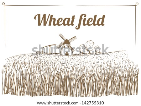 Wheat Field Sketch - stock vector