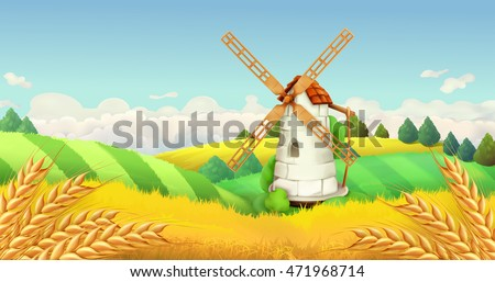 Wheat field. Windmill landscape. Horizontal background, vector