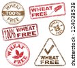 Wheat free food. Rubber stamp vector illustrations - stock photo