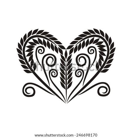 Wheat heart vector illustration - stock vector