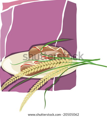 wheat in a plate with violet background	 - stock vector