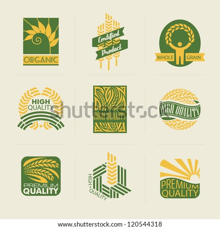 Wheat labels and badges. Vector elements for design. - stock vector