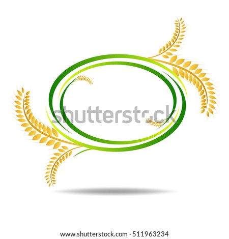 wheat on white and text, agricultural vector illustration