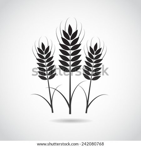 Wheat vector icon isolated on white background. - stock vector