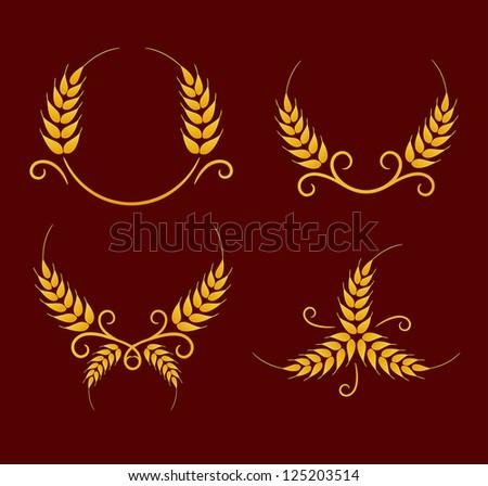 Wheat wreaths decoration elements - stock vector