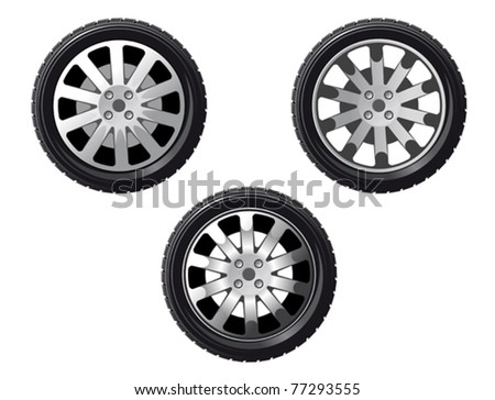 Wheel and tire set isolated on white for transport or service design. Jpeg version also available