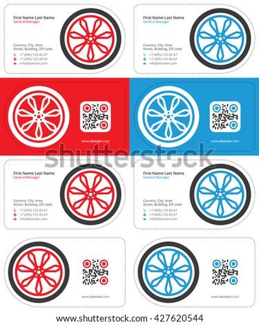 wheel business card 1 - stock vector