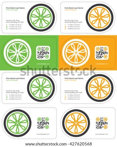 wheel business card 2 - stock vector