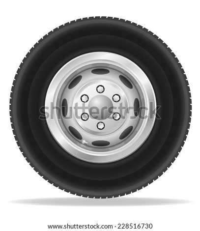 wheel for truck tracktor and van vector illustration isolated on white background - stock vector