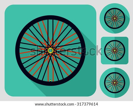 Wheel icon. Bike parts. Flat long shadow design. Bicycle icons series. - stock vector