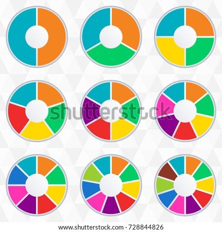 wheel infographics template pie chart set stock vector 728844826