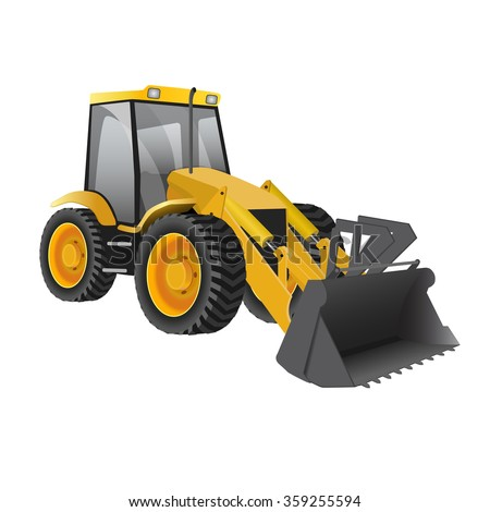 Wheel loader building excavators isolated on white backgrounds. Vector illustration