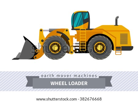 Wheel loader classic. Heavy equipment vehicle isolated color vector illustration.