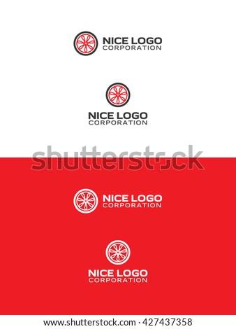 wheel logo - stock vector