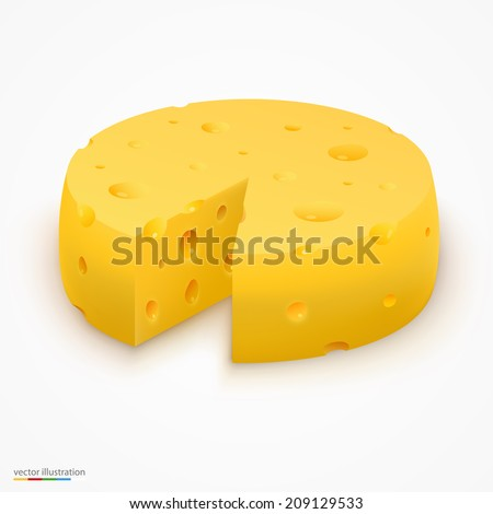 Wheel of cheese, cheese icon 3d, cheese realistic food, Vector illustration