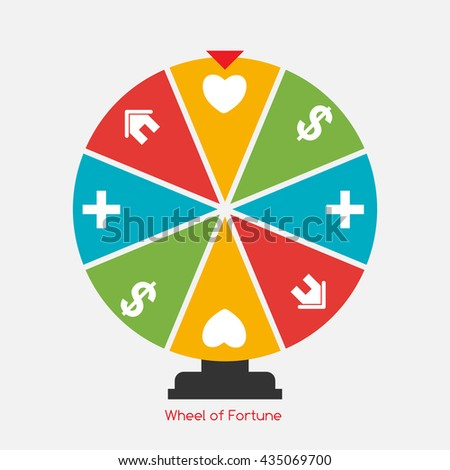 Wheel of Fortune, Lucky Icon with Money, Health, Home and Love Sign. Vector Illustration EPS10 - stock vector