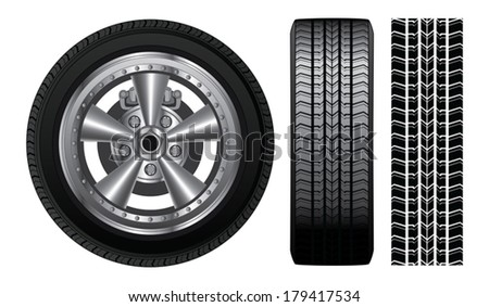 Wheel - Tire and Alloy Rim is an illustration of a wheel with tire and alloy rim  showing rotor and brakes. Also includes front view of tire and tire track. - stock vector