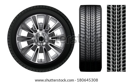 Wheel - Tire and Rim is an illustration of a wheel with tire and alloy rim  showing rotor and brakes. Also includes front view of tire and tire track. - stock vector