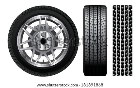 Wheel - Tire and Rim With Brakes is an illustration of a wheel with tire and alloy rim  showing rotor and brakes. Also includes front view of tire and tire track. - stock vector