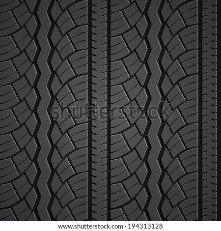 Wheel tire seamless pattern. Vector realistic illustration - stock vector