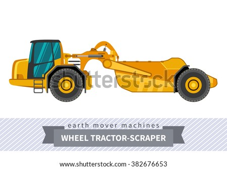 Wheel tractor-scraper. Heavy equipment vehicle isolated color vector illustration.