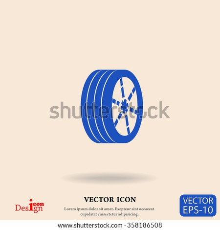 wheel vector icon - stock vector