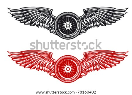 Wheel with wings for tattoo or mascot design. Jpeg version also available in gallery - stock vector