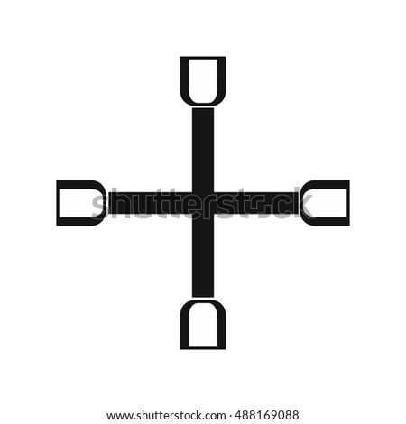 Wheel wrench cross icon in simple style on a white background vector illustration