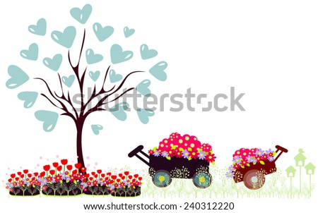 Wheelbarrow full of flowers and tree with hearts - stock vector