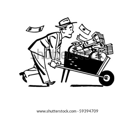 Wheelbarrow Of Cash - Retro Clip Art - stock vector