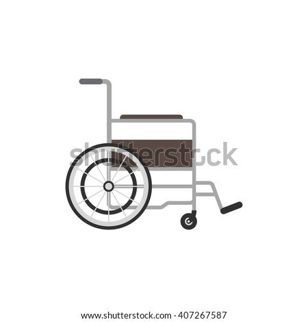 Wheelchair closeup. Wheelchair medical icon. Wheelchair vector illustration. Wheelchair isolated on white background
