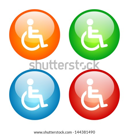 Wheelchair Handicapped Symbol Icon Colorful Glass Button Icon Set.  Vector format, colors can be adjusted easily. - stock vector