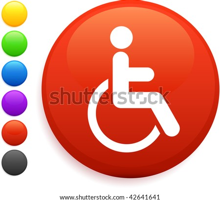 wheelchair icon on round internet button original vector illustration 6 color versions included - stock vector