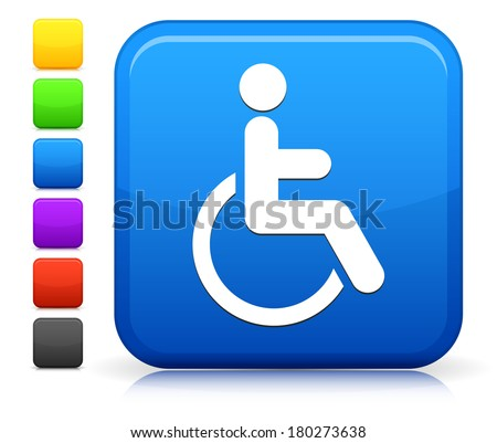 Wheelchair Icon on Square Internet Button Collection - stock vector