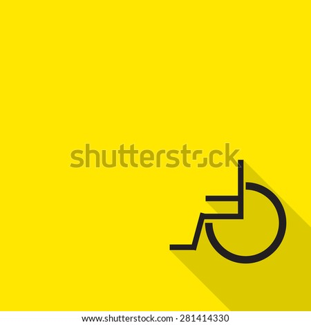 wheelchair icon with long shadow. - stock vector