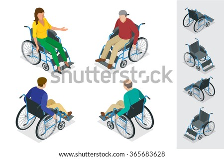 Wheelchair isolated. Man and Woman in Wheelchair. Flat 3d isometric vector illustration. - stock vector