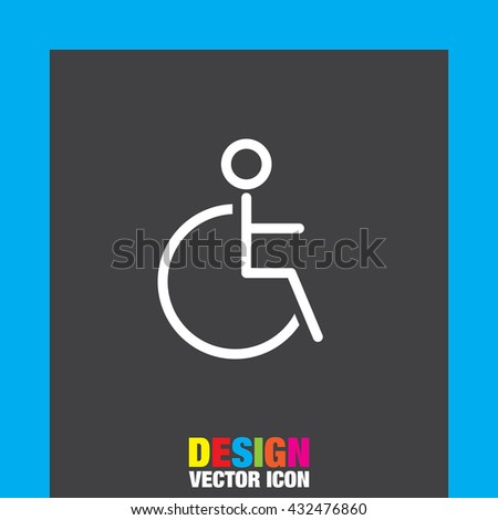 Wheelchair sign line vector icon. Disabled person icon. Human on wheelchair sign. Patient transportation symbol. - stock vector