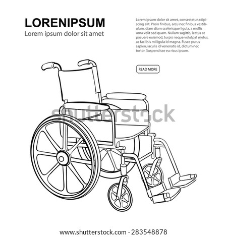 Wheelchair. Vector hand drawn illustration isolate on white background. Website page template  - stock vector