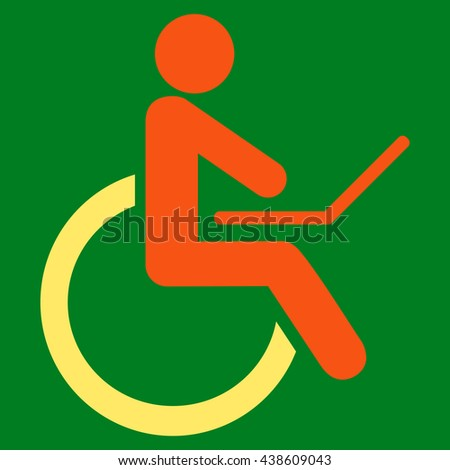 Wheelchair vector icon. Style is bicolor flat icon symbol with rounded angles, orange and yellow colors, green background.