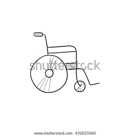 Wheelchair vector sketch icon isolated on background. Hand drawn Wheelchair icon. Wheelchair sketch icon for infographic, website or app. - stock vector