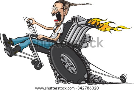 Wheelie Chair A cartoon disabled man in hot-rod wheel chair. Vector file available.