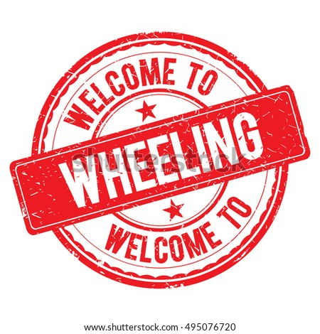 WHEELING. Welcome to stamp sign illustration